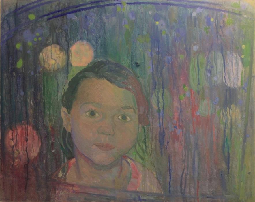"""Rain at Night, oil on wood, 28"""" x 36"""", NFS"""