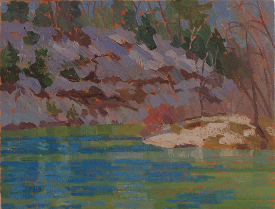 "Nottawasaga River, Spring, oil on wood, 9"" x 12"" $250"
