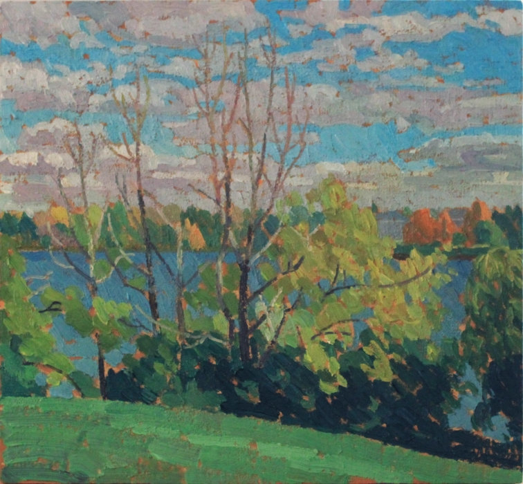 "Prof's Lake, Fall, oil on wood, 10"" x 12"", sold"