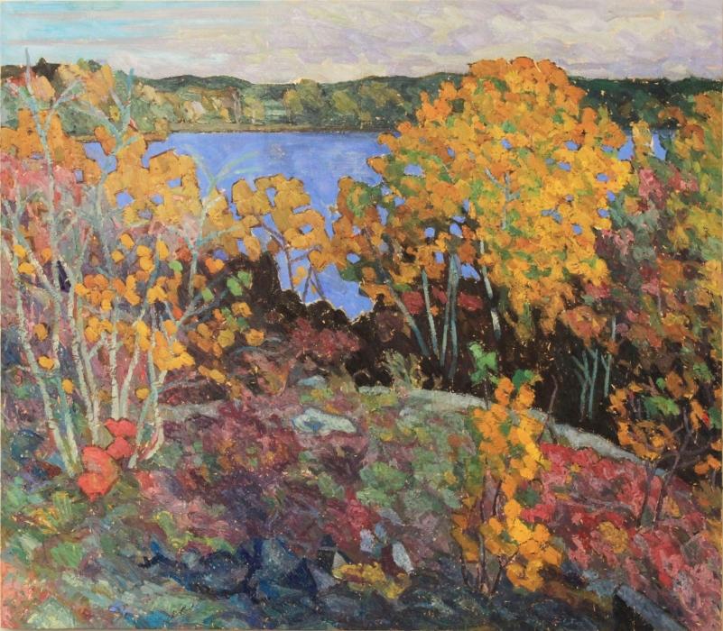 "Early Morning, Sudbury Fall, oil on wood, 40"" x 45"", $1800"