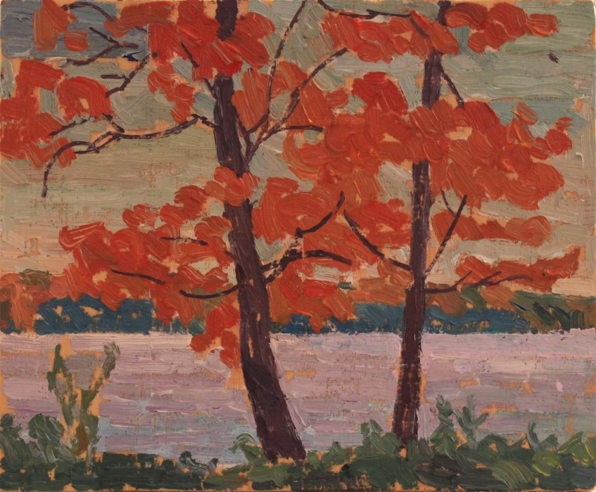 "Orange Trees, Little Lake Park, oil on wood, 8"" x 9.5"", $225 (with floating frame)"