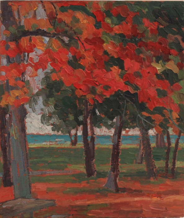 "Red Leaves, Wasaga Beach, oil on wood, 12"" x 10"", $250"