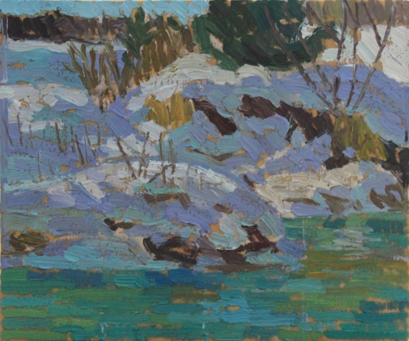 "Mad River, Spring, oil on wood, 6.5"" x 8"", $150"