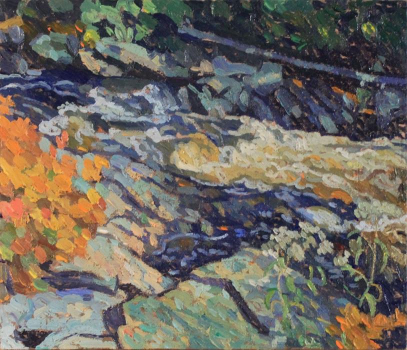 """Rosseau Rapids, Fall, oil on wood, 10"""" x 12"""", $250"""
