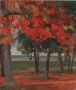 "Red Leaves, Wasaga Beach, oil on wood, 12"" x 10"", $250"