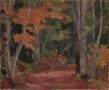 "Fall Path, Arrowhead, oil on wood, 8"" x 9.5"", sold"