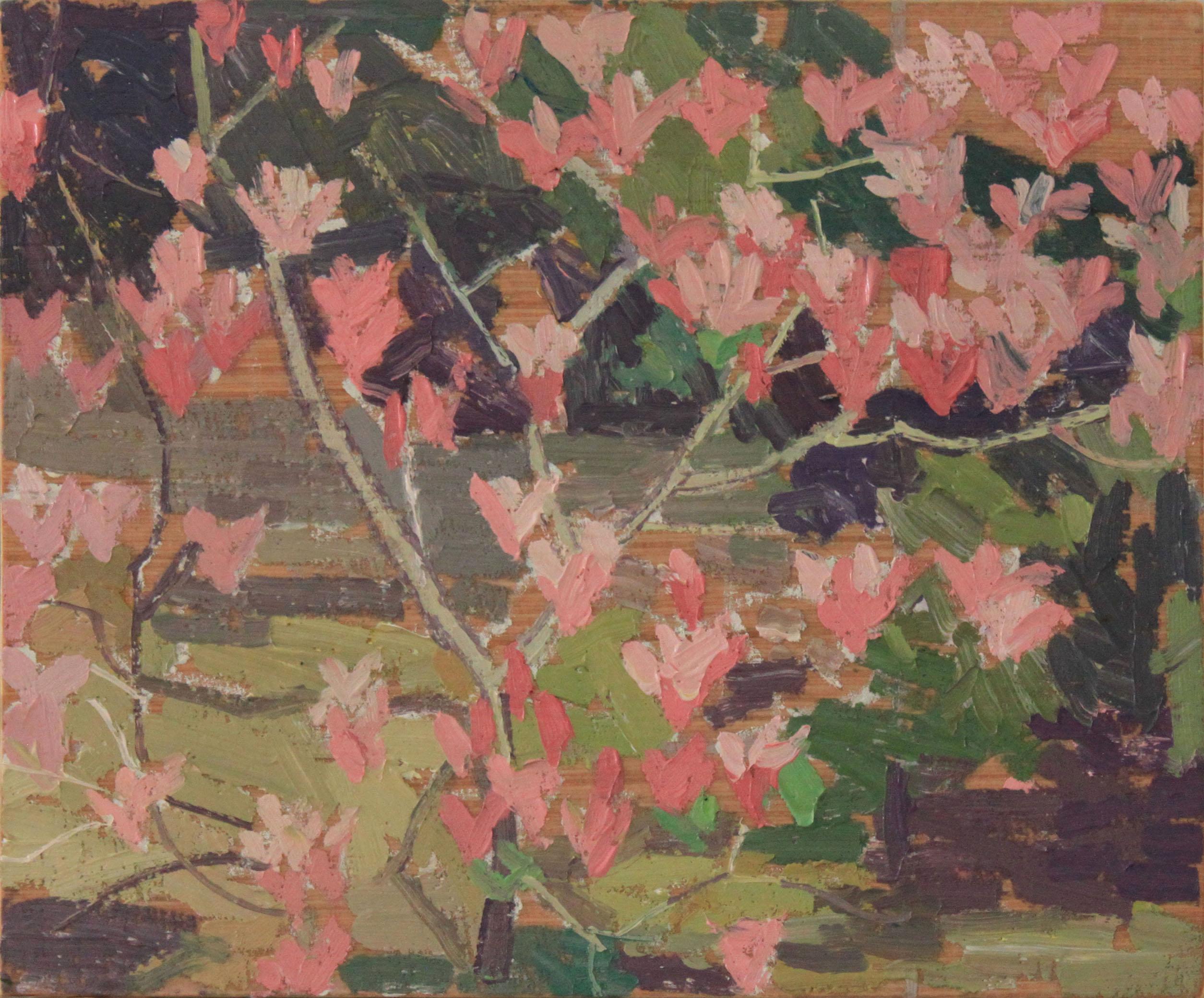 """Magnolia Pattern, oil on wood, 8"""" x 9.5"""", $180"""