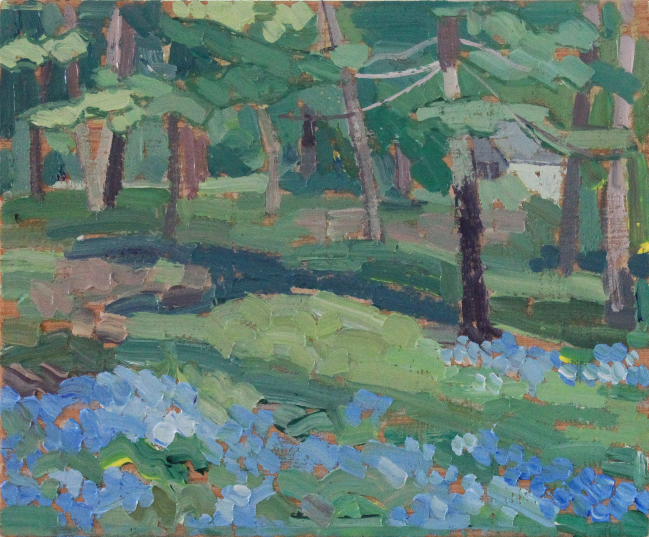 """Blue Flowers and Trees, oil on wood, 8"""" x 9.5"""", $180"""