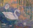 """Swans, oil on wood, 10"""" x 12"""", $250"""